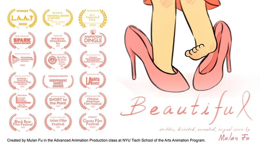 """""""BEAUTIFUL, a film made by student Mulan Fu in the Advanced Animation Production class at NYU Tisch School of the Arts Animation Program."""""""